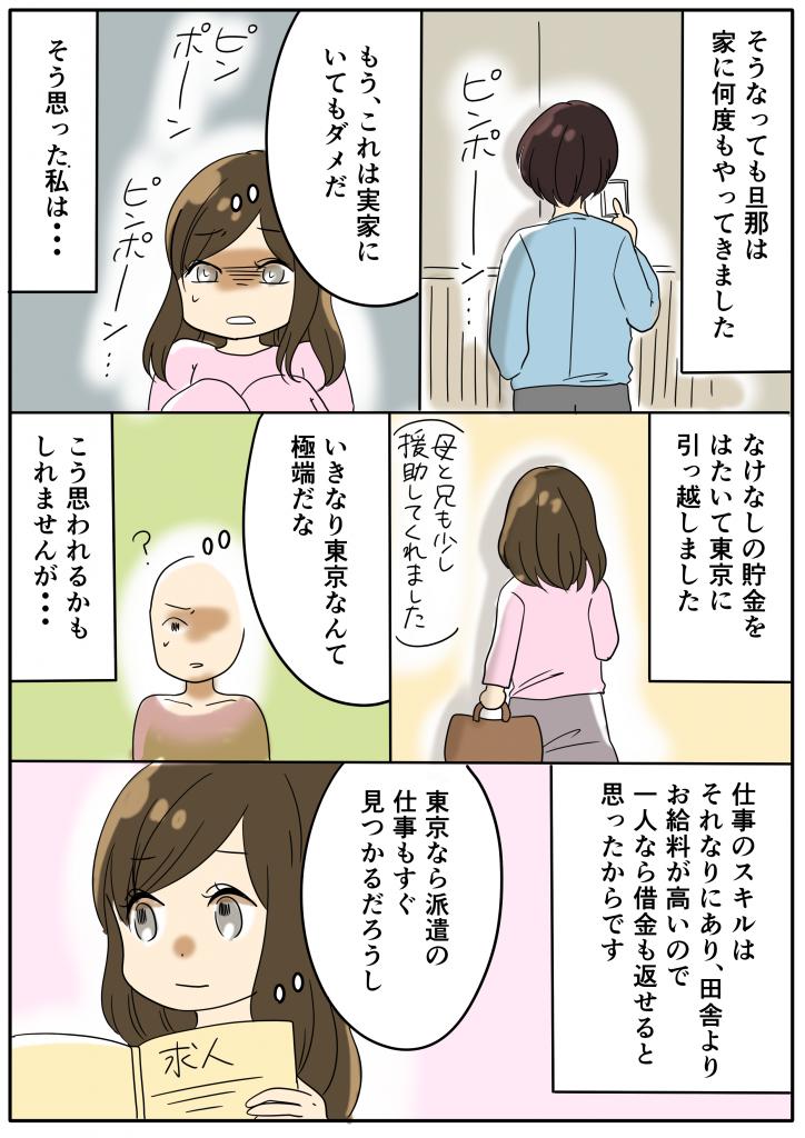 そうなっても旦那は家に何度もやってきました もう、これは実家にいてもダメだ そう思った私は・・・ なけなしの貯金をはたいて東京に引っ越しました 母と兄も少し援助してくれました いきなり東京なんて極端だな こう思われるかもしれませんが・・・ 仕事のスキルはそれなりにあり、田舎よりお給料が高いので一人なら借金も返せるとおもったからです 東京なら派遣の仕事もすぐ見つかるだろうし