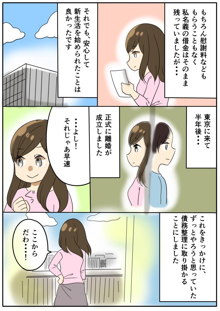 もちろん慰謝料などももらうこともなく私名義の借金はそのまま残っていましたが・・・ それでも、安心して新生活を始められた事はよかったです 東京にきて半年後・・・ 正式に離婚が成立しました ・・・よし!それじゃ早速 これをきっかけに、ずっとやろうと思っていた債務整理に取り掛かることにしました ここからだわ・・・!
